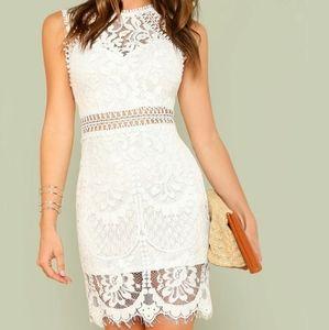 SHEIN white scallop hem guipure lace bodycon dress
